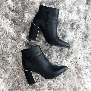 Nine West Black Ankle Booties with Metal Detailing